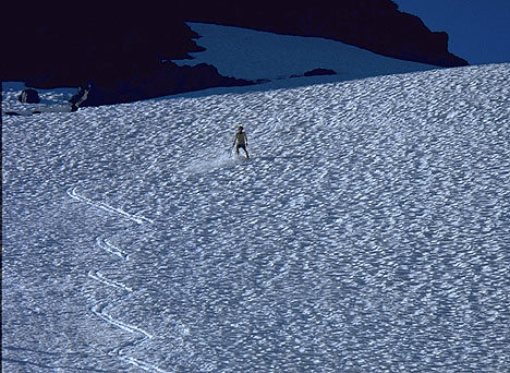 Glissade is THE classic mountaineering descent, and the standing version the more technically difficult