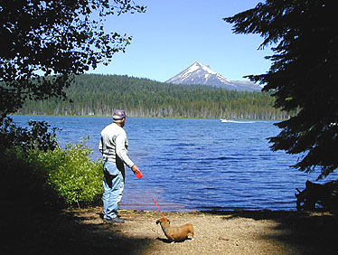 Lake o' the Woods showcases the beautiful mixed confierous forests and clear waters of the Southern Oregon Cascades
