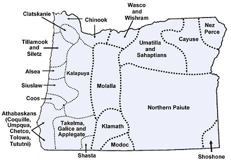 Oregon Map Oregon Geography Indian Tribes Map Native American - Map of oregon highways